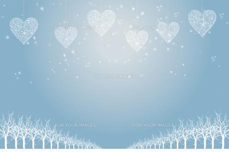 クリスマスのイメージ背景画像|水色 雪の結晶のハートのオーナメントと樹氷とトナカイ|Christmas imageのイラスト素材 [FYI00891460]