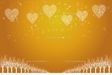 クリスマスのイメージ背景画像 金色 雪の結晶のハートのオーナメントと樹氷とトナカイ Christmas imageのイラスト素材 [FYI00891461]