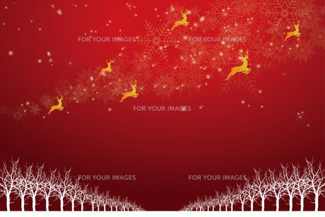 クリスマスのイメージ背景画像|赤色 雪の結晶の天の川と樹氷とトナカイ|Christmas imageのイラスト素材 [FYI00891462]