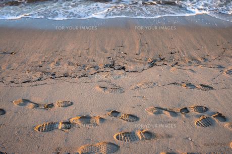 波打ち際の靴跡の写真素材 [FYI00891604]