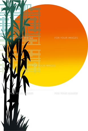 竹と日の出の背景のイラスト素材 [FYI00891908]