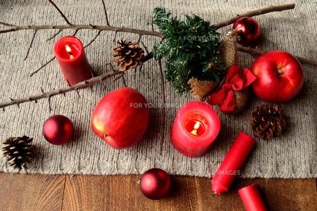 ミニクリスマスツリーと林檎と赤いキャンドル ニット生地背景の写真素材 [FYI00892616]