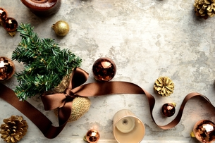 ブラウンの星型のクリスマス飾りとクリスマスツリーの写真素材 [FYI00893177]