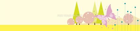 桜と蝶の春の背景のイラスト素材 [FYI00893273]