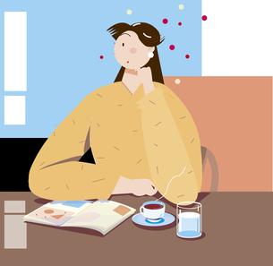 カフェで読書とコーヒーを飲む女性のイラスト素材 [FYI00893274]