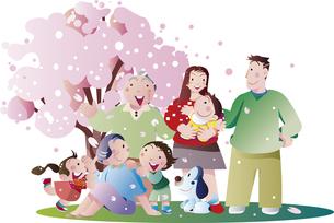 お花見の家族とペットのイラスト素材 [FYI00893279]