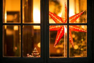 Christmas star and small Christmas tree behind windowpaneの写真素材 [FYI00893442]