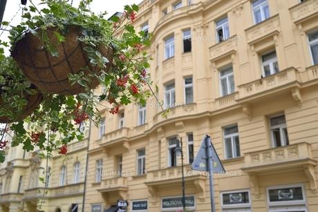 フラワーバスケットのある風景(チェコ・プラハ歴史地区・ドロウハ通り)の写真素材 [FYI00893626]