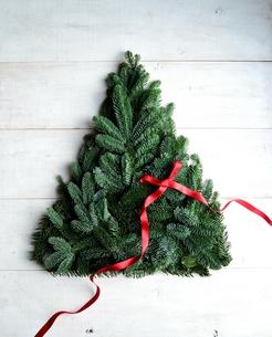 モミの葉と赤いリボンのクリスマスツリーの写真素材 [FYI00893890]