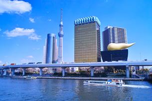 浅草 隅田川堤防から見た風景の写真素材 [FYI00894068]