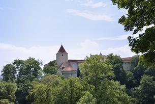 プラハ城「黄金の小路の外壁とダリボルカ塔」の写真素材 [FYI00894230]