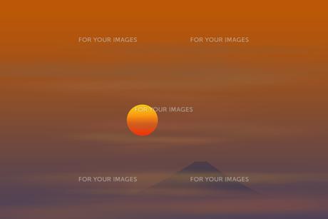 富士山と日の出のイラスト素材 [FYI00894383]