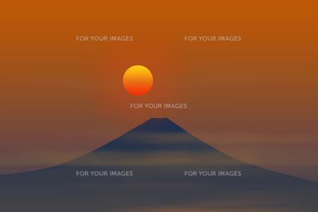 富士山と日の出のイラスト素材 [FYI00894384]