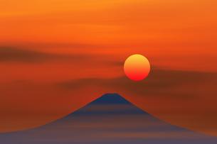 富士山と日の出のイラスト素材 [FYI00894385]