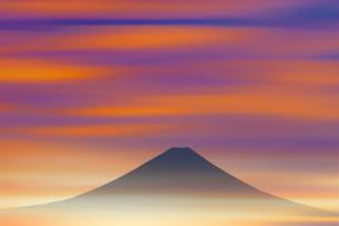 夜明けの富士山のイラスト素材 [FYI00894386]