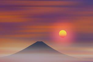 富士山と日の出のイラスト素材 [FYI00894387]