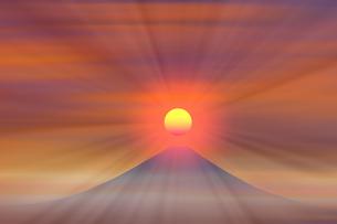 富士山と朝日のイラスト素材 [FYI00894391]