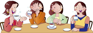 ティータイムでおしゃべりする女性のイラスト素材 [FYI00894435]