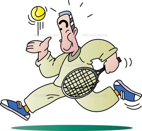 テニスが趣味の老人のイラスト素材 [FYI00894436]