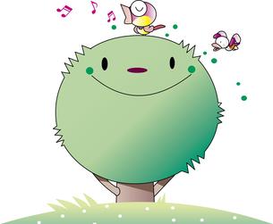 木のキャラクターと小鳥のイラスト素材 [FYI00894441]