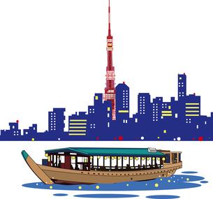 屋形船と東京湾夜景のイラスト素材 [FYI00894443]