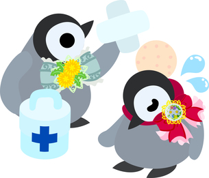 おしゃれで可愛い赤ちゃんペンギンのイラストのイラスト素材 [FYI00894453]