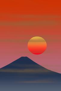 富士山と朝日のイラスト素材 [FYI00894475]