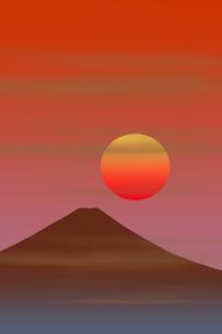 富士山と朝日のイラスト素材 [FYI00894476]