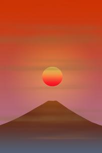 富士山と朝日のイラスト素材 [FYI00894477]