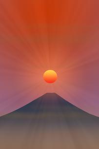 富士山と朝日のイラスト素材 [FYI00894479]