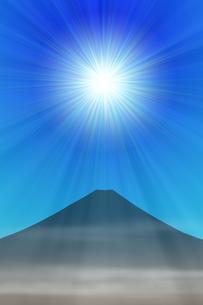 富士山と太陽のイラスト素材 [FYI00894480]