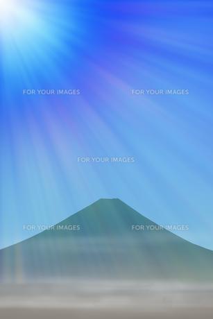 富士山と朝日のイラスト素材 [FYI00894481]