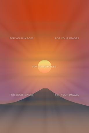 富士山と朝日のイラスト素材 [FYI00894482]
