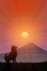 富士山と朝日のイラスト素材 [FYI00894483]