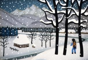 故郷の雪景のイラスト素材 [FYI00894782]