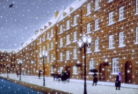 雪の降る街Bのイラスト素材 [FYI00894784]