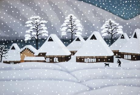 美山の雪のイラスト素材 [FYI00894787]