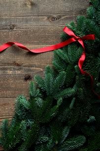 モミと赤いリボンのクリスマスツリー 黒木材背景の写真素材 [FYI00894792]