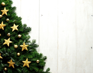 金色の星型のクリスマス飾りとクリスマスツリーの写真素材 [FYI00894874]