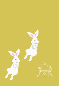 ウサギと鏡餅の素材 [FYI00895843]