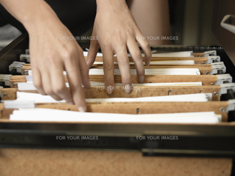 Woman going through files (close-up)の素材 [FYI00899937]