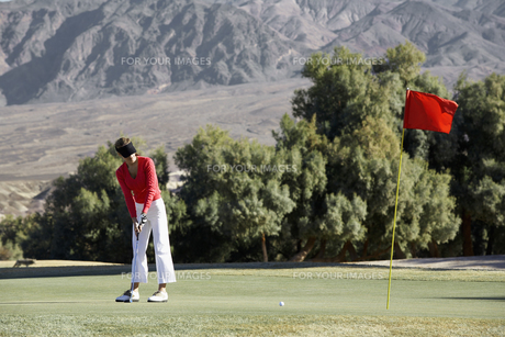 Woman playing golfの素材 [FYI00901885]