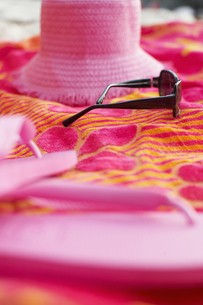 Beach attire on picnic blanketの素材 [FYI00903514]