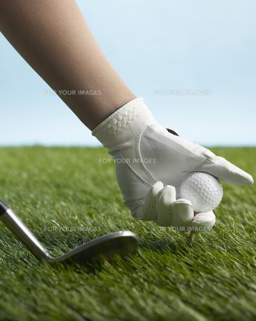 Golf Player Placing Golf Ball on Teeの素材 [FYI00905323]