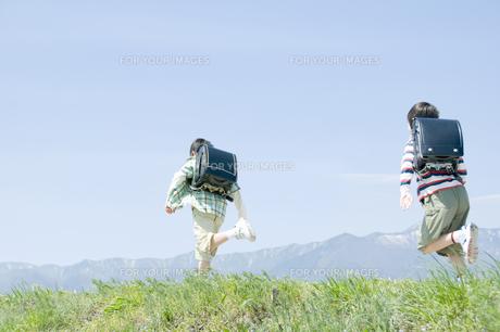 土手を走る男子小学生の素材 [FYI00907982]