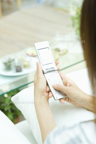 ハーブでリラックスしながら携帯電話をみる女性の素材 [FYI00914827]