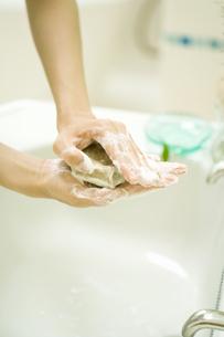 月桂樹のハーブ石鹸を泡立てる手元の素材 [FYI00914878]