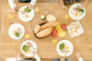 キッチンで朝食を取る日本人の娘4人の素材 [FYI00920258]