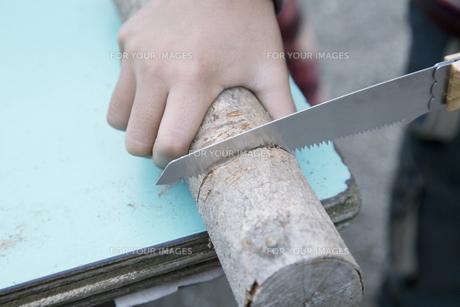 木の工作をする男の子の手元の素材 [FYI00920267]