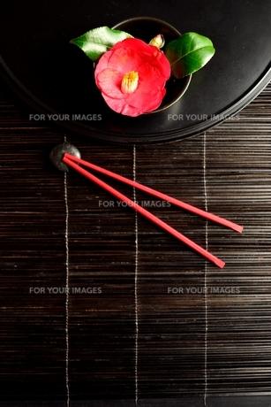 黒いおぼんの上の椿の写真素材 [FYI00920744]